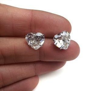 Sterling Silver Heart Shape Post Earrings 2ct CZ